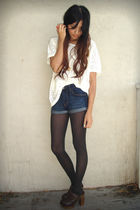 white H&M blouse - blue H&M shorts - gray old tights - brown Steve Madden