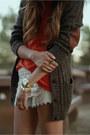 Dark-brown-grandpa-f21-cardigan-cream-crochet-sans-souci-shorts