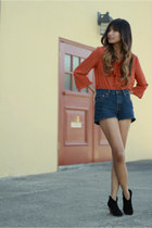 navy vintage cutoffs Levis shorts - burnt orange f21 blouse