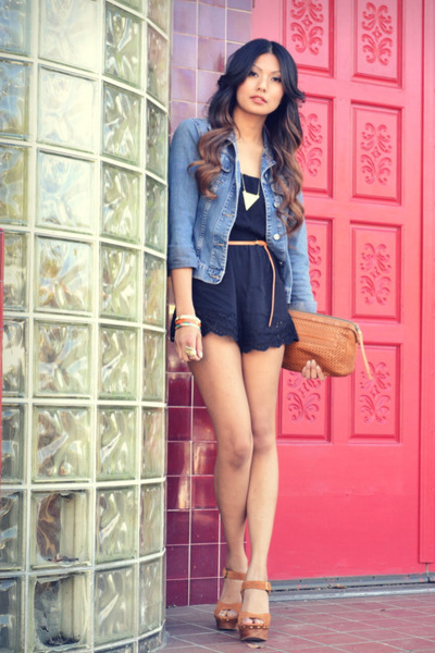 camel Jeffrey Campbell clogs - black f21 romper