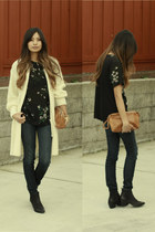 cream vintage cardigan - navy Bebe jeans - black Zara top