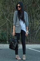 dark gray Zara coat - light brown sam edelman boots