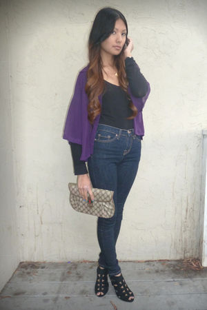 purple Forever 21 blouse - black Jeffrey Campbell shoes - beige Gucci bag