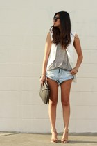 white Zara vest - audrey Celine sunglasses - grey Zara top