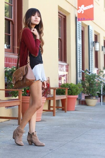 brick red Zara cardigan - black Zara shorts