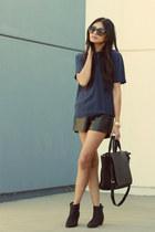 navy vintage blouse - black Zara bag - black insane jungle shorts