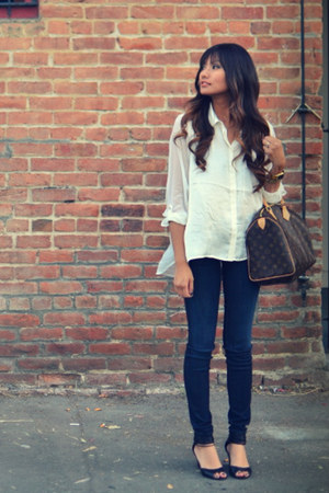 white H&amp;M shirt - black Kelsi Dagger shoes - navy Bebe jeans