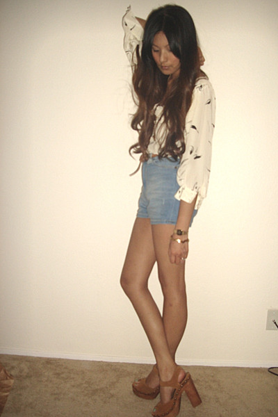 white Lux blouse - blue Zara shorts - brown Jeffrey Campbell shoes