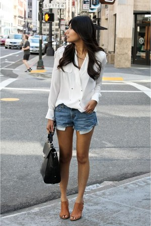 cream Zara blouse - blue Levis shorts - brown Jeffrey Campbell sandals