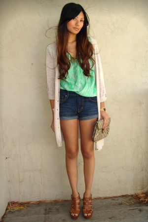 beige H&M cardigan - green f21 top - blue H&M shorts - brown Cynthia Vincent Tar