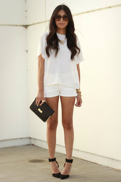 black Zara heels - white old cutoffs Gap shorts