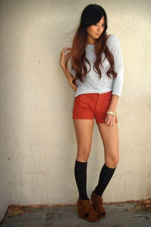 orange dittos shorts - brown Jeffrey Campbell shoes - black Hubbys socks