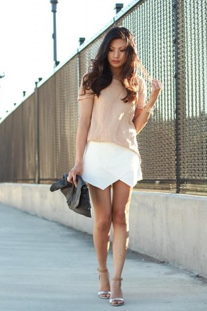 ivory Zara skirt - tan Zara t-shirt - silver Zara sandals