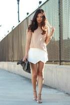 ivory Zara skirt - tan Zara t-shirt - silver Zara sandals