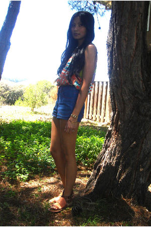 orange Forever 21 top - blue Forever 21 shorts - brown Urban Outfitters shoes
