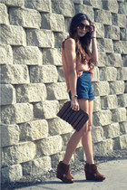 salmon H&M blouse - navy lucca couture shorts - brown Jeffrey Campbell wedges