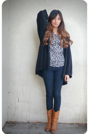 black Forever 21 cardigan - black Audrey blouse - brown carrini boots
