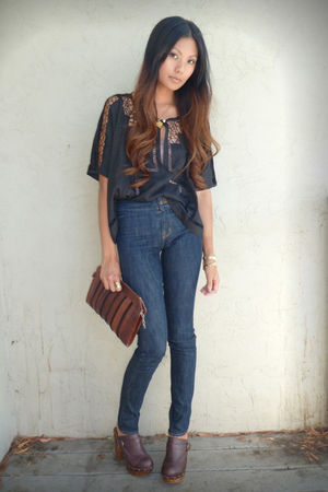 blue J Brand jeans - brown Steve Madden - black Forever21 blouse
