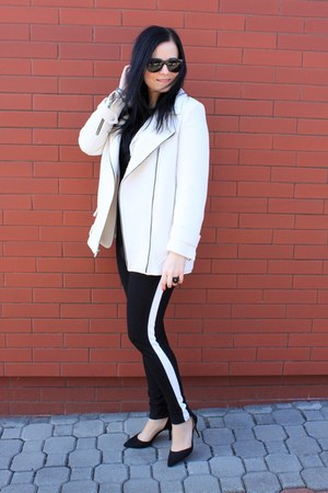 white Zara coat - white F&amp;F blazer - black Zara heels - black c&amp;a pants