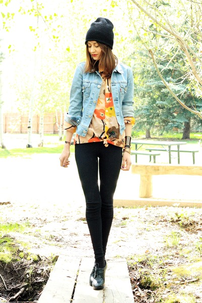 sky blue vintage jacket - carrot orange vintage blouse