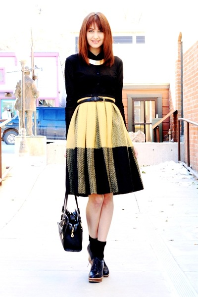 gold necklace - mustard vintage skirt - black vintage blouse