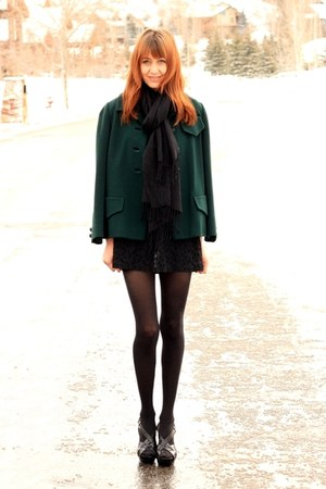 black Cynthia Vincent dress - forest green vintage coat - black Michael Kors hee