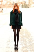 black Cynthia Vincent dress - forest green vintage coat - black Michael Kors hee