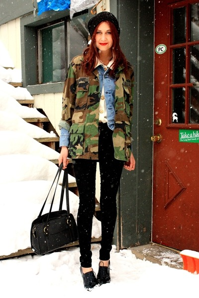 army green vintage jacket - sky blue vintage jacket - black jeans