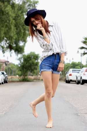 blue acne shorts - beige thrift blouse