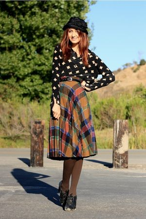 brown vintage skirt - black thrift blouse