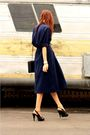 Blue-thrifted-blouse-blue-skirt