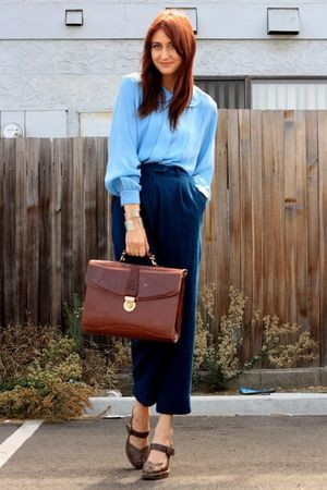 blue thrift blouse - brown Frye shoes - blue thrift pants