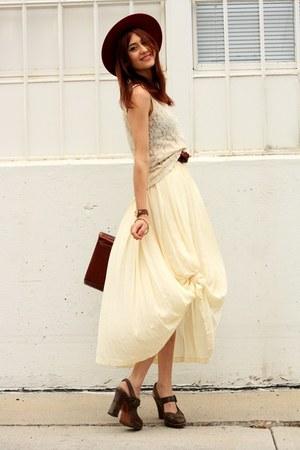 dark brown Frye heels - cream thrifted top - cream thrifted skirt
