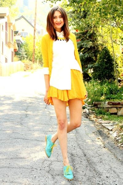 yellow Jcrew sweater - white blouse - yellow vintage skirt - aquamarine loafers