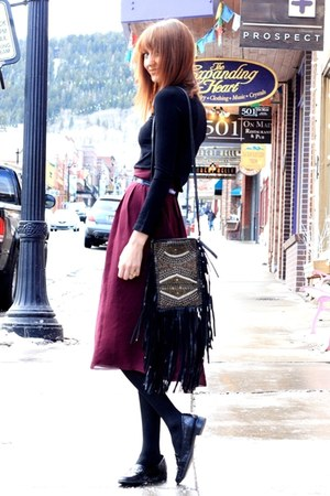 dark khaki vintage coat - black Cleobella bag - maroon thrifted skirt