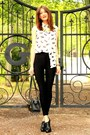 White-blouse-yellow-necklace-black-american-apparel-pants-black-aldo-heels