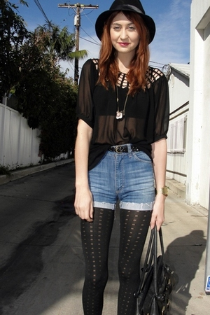 acne shorts - Goodwill shoes - black vestal hat - Nordstroms tights