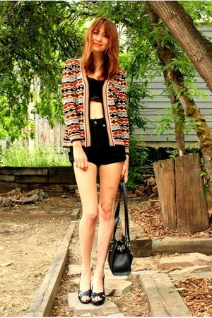 brick red vintage sweater - black Vintage Versace shorts - black free people bra
