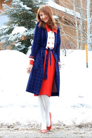 red St Johns Knit dress - navy vintage coat