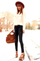 James Jeans jeans - brick red vintage purse - navy vintage top - Aldo heels