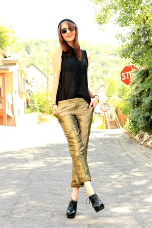 black blouse - gold elevenses pants - black Aldo heels