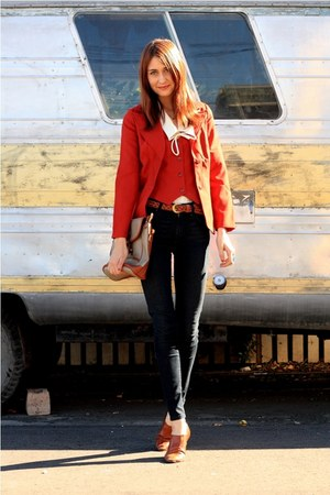 orange thrifted jacket - blue James Jeans jeans - bronze Sleepwalker LA shoes