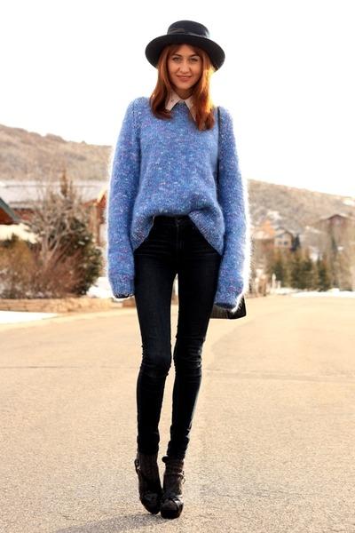 navy James Jeans jeans - periwinkle vintage sweater
