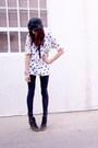 White-thirft-shirt-black-nordstrom-tights-black-vintage-hat-black-marc-jac