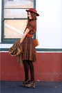 Orange-thrifted-dress-brown-vintage-jacket-brown-frye-shoes