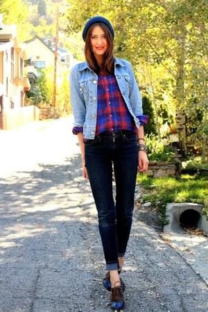vintage blouse - James Jeans jeans - vintage jacket - La Bella Bleu loafers