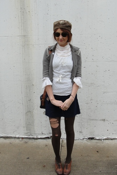 white vintage blouse - brown jeffery cambell shoes - silver free people sweater
