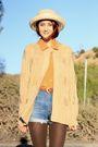 Beige-nos-vintage-sweater-gold-thrift-top-blue-acne-shorts-brown-frye-shoe