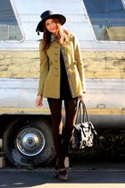 chartreuse free people coat - dark brown Frye shoes - navy thrifted dress