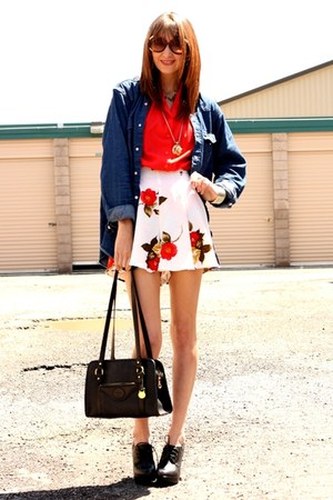 red vintage blouse - cream vintage shorts - navy Wrangler top